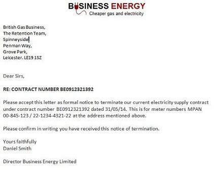 Termination Letter Format For Not Serving Notice Period Gas And Electricity Exle Termination Notice Letters