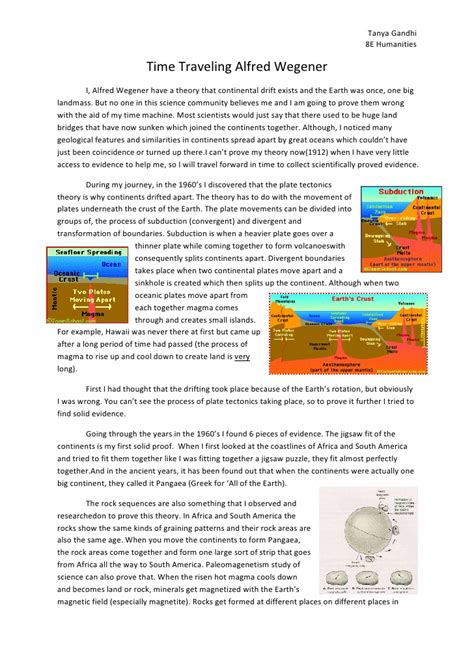 Plate Tectonics Essay by Time Traveling Alfred Wegener Essay