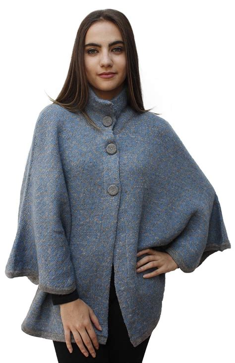 womens knit poncho s soft warm alpaca wool knitted knit yarn cape coat