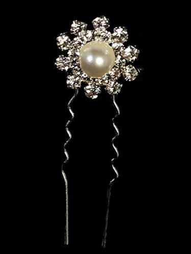 Flower Rhinestone Hair Pin flower rhinestone hair pin w pearl