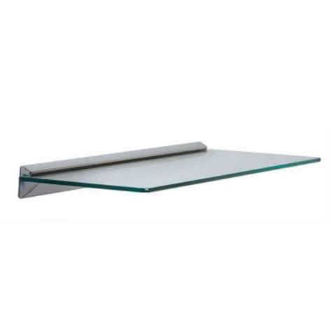 knape vogt 8 in x 24 in chrome glass decorative shelf