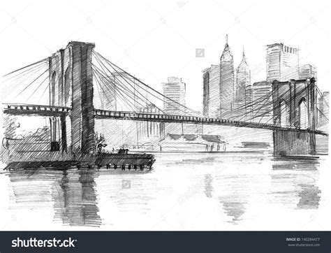 Sketches New York by Pencil Drawing Of A Landscape With Set Skyscrapers And