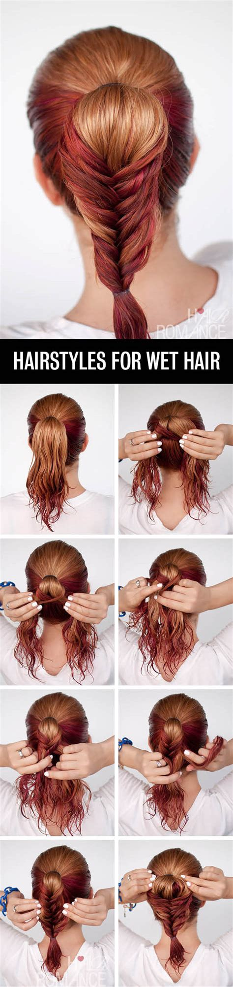 hairstyles to do with wet hair get ready fast with 7 easy hairstyle tutorials for wet