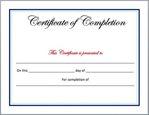 Completion Certificate Template Blank Certificate Of Completion Template Word