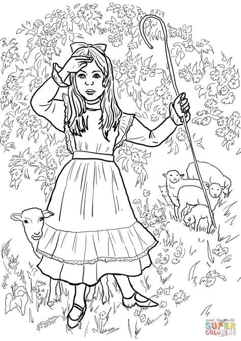 little bo peep nursery rhyme coloring page free