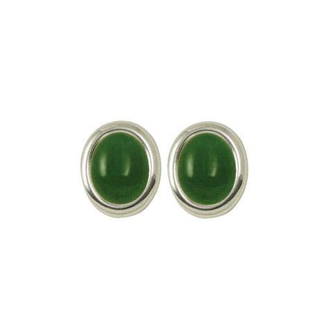 minuet green jade cabochon silver clip on earrings