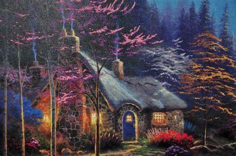 kinkade twilight cottage kinkade twilight cottage canvas print framed le