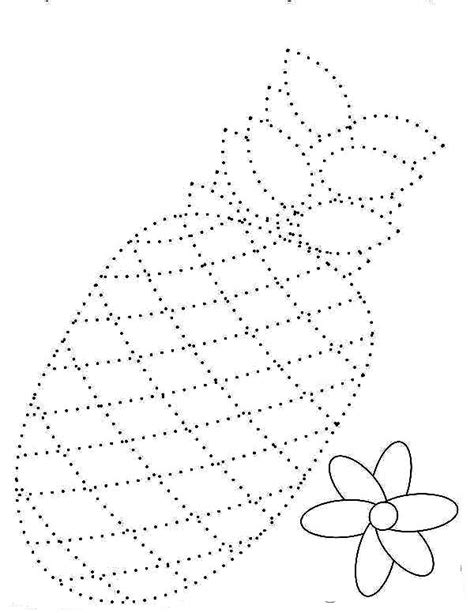 draw  pineapple dotted sheet coloring page