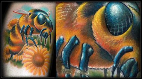 new school realism tattoo realistic bee and flowers by lenny renken tattoonow