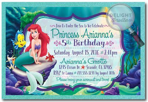 mermaid birthday card templates princess ariel mermaid birthday invitations di 282