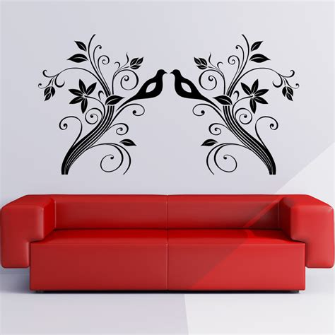 flowers wall stickers floral wall stickers large vine leaf flower birds