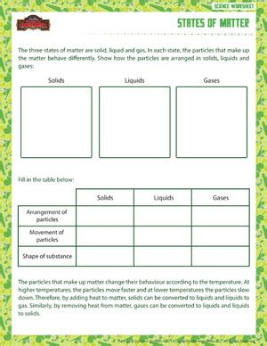 Grade Matter Worksheets by States Of Matter Printable Sixth Grade Physical Science