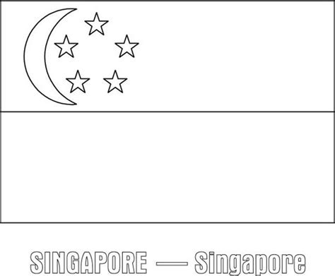 nation flag of singapore coloring page download print
