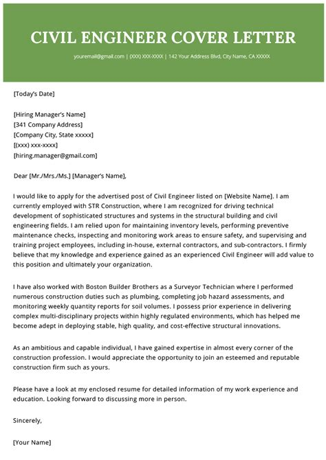 civil engineer cover letter writing tips