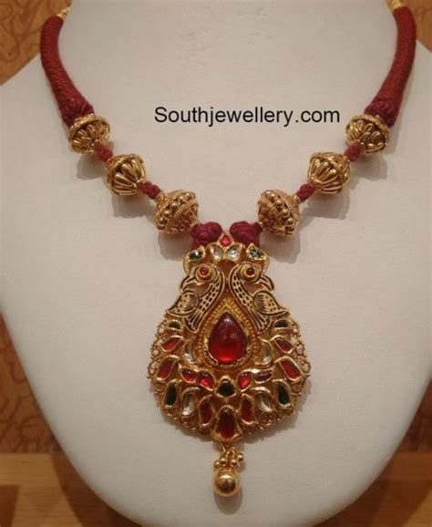 black necklace designs india red dori thread necklace with peacock pendant jewelry