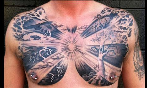 cloud tattoos on chest grey ink clouds with tree and flying bird chest