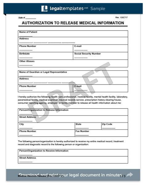 medical records release form create a request for