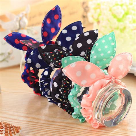 105 Box D 4 3cm Baby G Rubber Jpg 10x elastic bow rabbit ear dot hair band rope