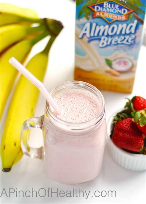 Milk Mi Banana Strawberry strawberry banana smoothie made with almond a