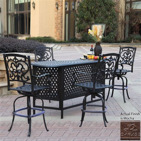 Outdoor Patio Bar Furniture Shop Darlee Santa Barbara Mocha Aluminum Patio Bar With 4 Stools At Lowes