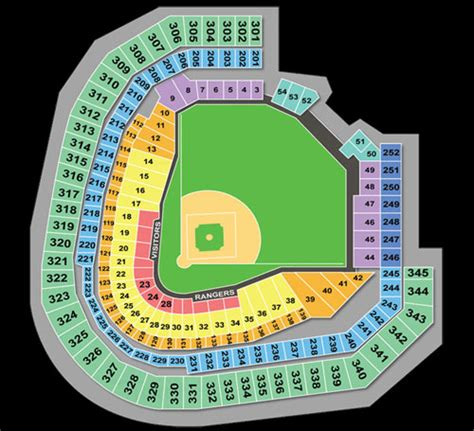 texas rangers ballpark seating map dallas at cowboys stadium seating chart 2017 2018 best cars reviews
