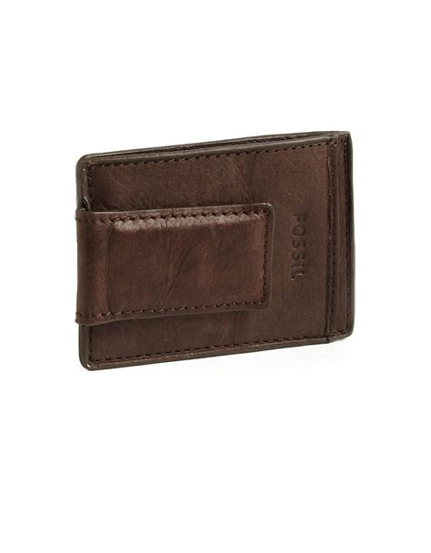 Fossil Card Brown Original 1 lyst fossil magnetic multi card leather wallet in brown for