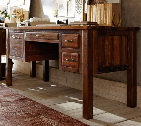 pottery barn desk bowry reclaimed wood desk pottery barn