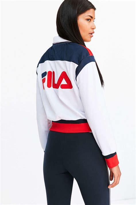 Outwear Jaket Sweater Hoodie Wanita Blue lyst fila uo drew track jacket in white