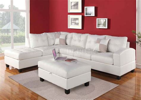 51175 kiva sectional sofa in white bonded leather by acme