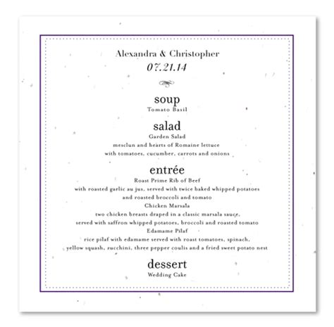Menu Card Template Word Modern Clean by Classic Wedding Menus On Seeded Paper Frame By