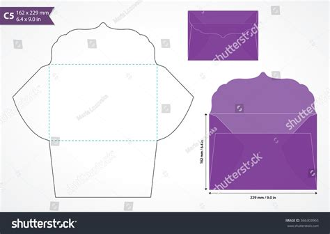 How To Make An A5 Envelope Out Of A4 Paper - die cut wedding envelope template original stock vector