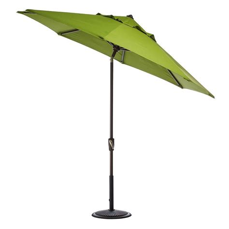 Patio Umbrella Frame Home Decorators Collection 9 Ft Auto Tilt Patio Umbrella In Macaw Sunbrella With Black Frame