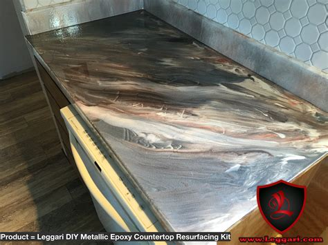 Countertop Epoxy Kit by This Countertop Was Coated With A Leggari Products Diy Metallic Epoxy Countertop Resurfacing Kit