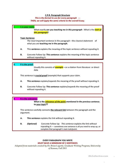 essay structure resources 34 free esl paragraph worksheets