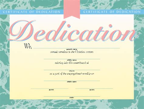 christian certificate template dedication certificate certificate dedication