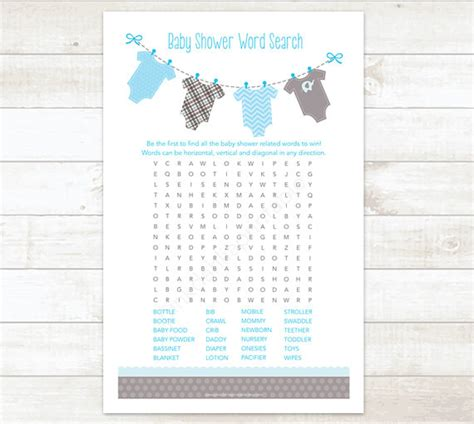 printable word search for baby shower baby shower word search game baby boy shower game baby blue