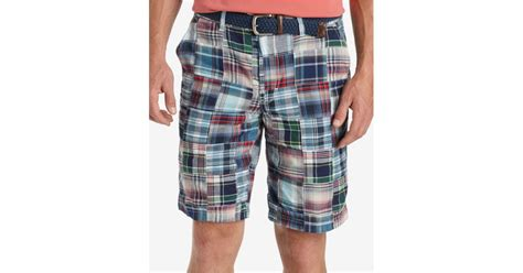 Womens Madras Patchwork Shorts - izod s flat front madras patchwork shorts in