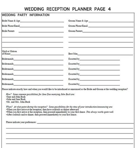 dj wedding planner template dj wedding forms