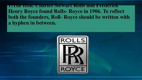 rolls royce facts interesting facts to about rolls royce cars