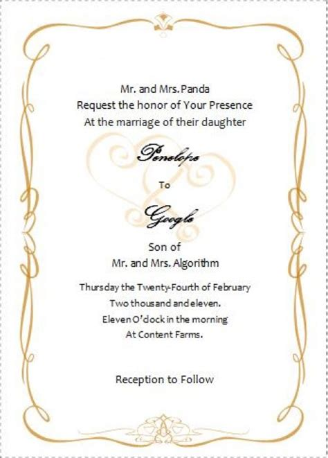 free wedding invitation templates for word 496x692 source mirror