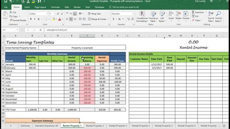 landlord template demo track rental property  excel