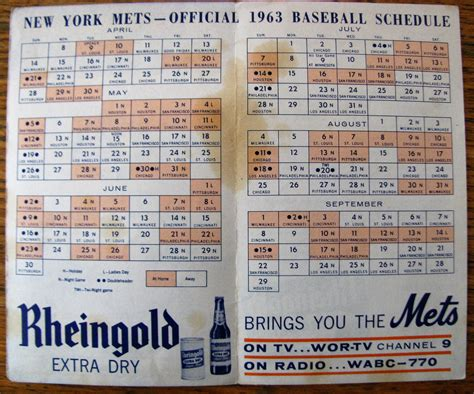 Mats Schedule by Lot Detail 1963 New York Mets Official Schedule 2nd