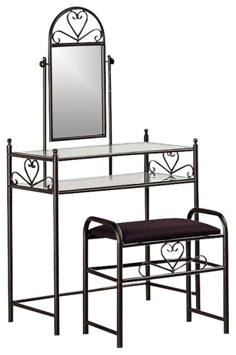 Wrought Iron Bedroom Vanity by Coaster Frosted Wrought Iron Makeup Vanity Table Set W