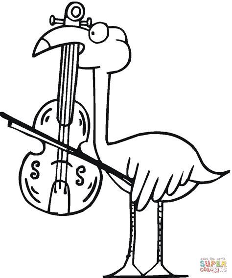 flamingo plays viola coloring page free printable