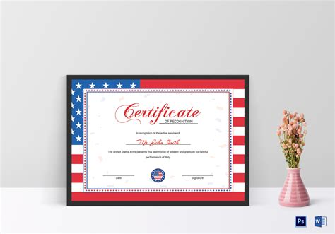 Flag Recognition Certificate Design Template In Psd Word Flag Certificate Template