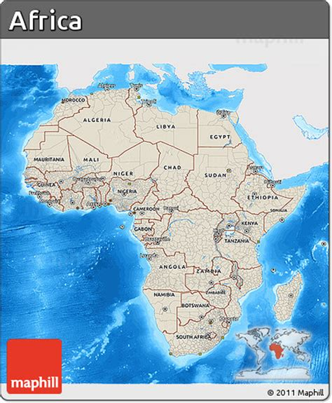 africa map sea free shaded relief 3d map of africa single color outside