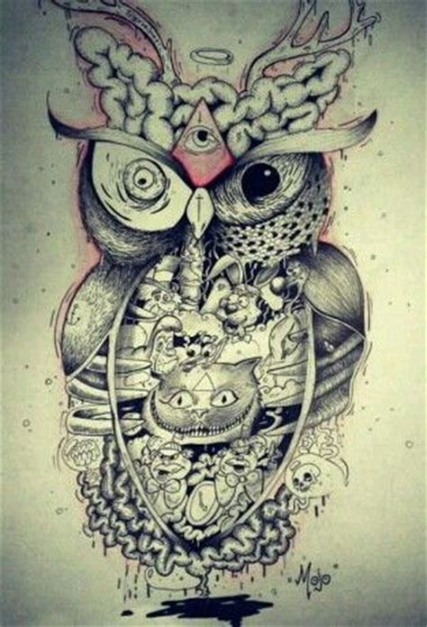 freaky tattoo designs drawing of an owl idea tatty up