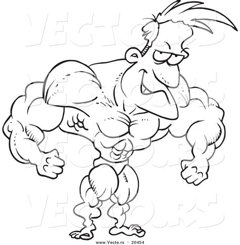 Outline Of A Bodybuilder by Royalty Free Muscular Stock Designs
