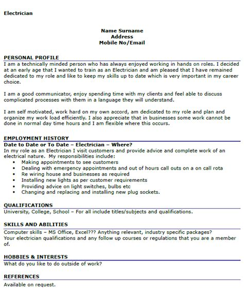 electrician cv example cover letters and cv examples