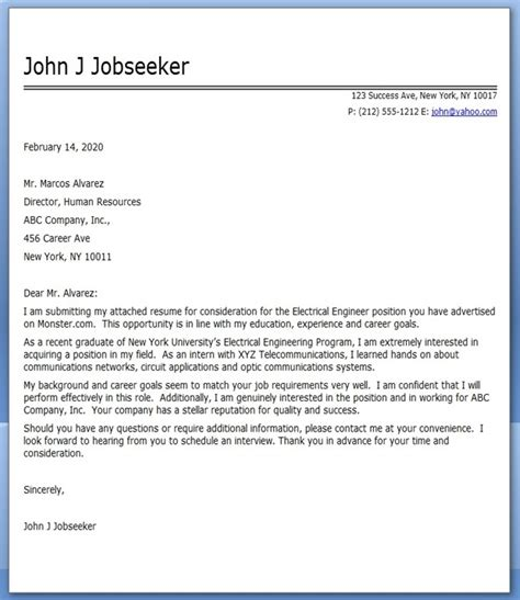 electrical engineering internship cover letter electrical engineer resume cover letter sles cover